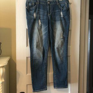 Maurices 11/12 Straight High Rise Distressed Jeans